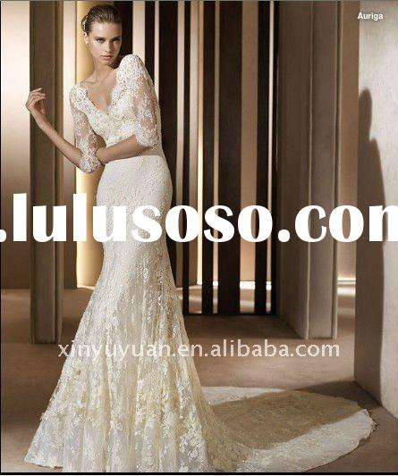 New style elegant V-neck long sleeve lace beaded open back court train sheath wedding dress bridal g