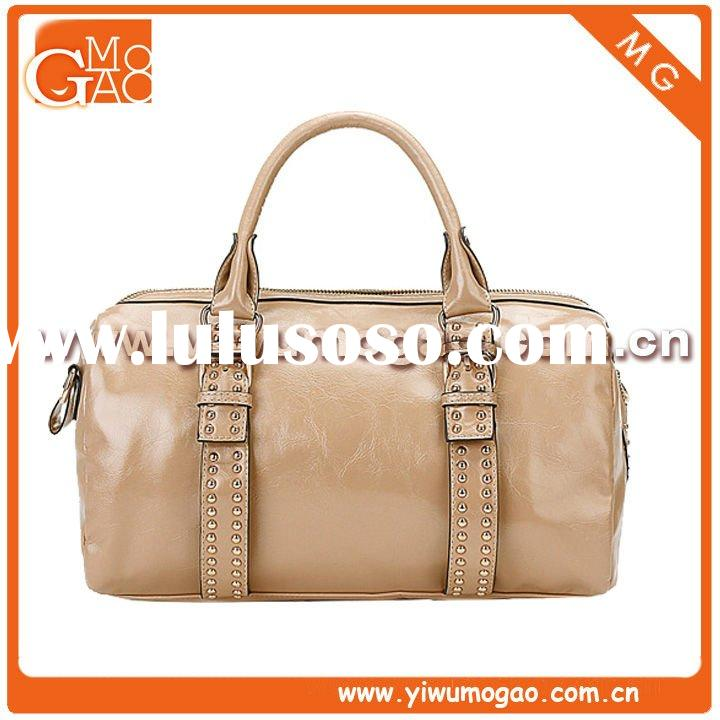 New style zip closure PU cameo brown fashion lady tote bag