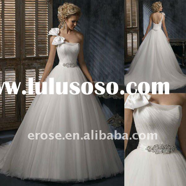 Outdoor One Shoulder Chiffon Wedding Dress With Bow MG-A028