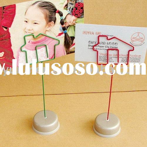 PH004--Can printing LOGO House metal wire photo stand MEMO holder