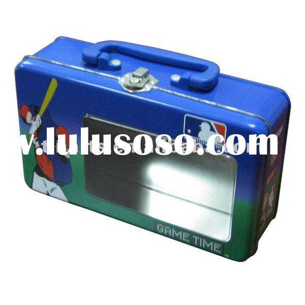 Portable lunch tin box with clear plastic window