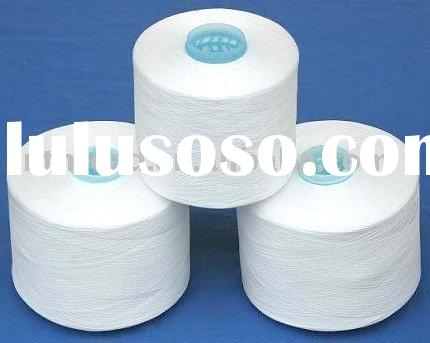 Raw white spun 100% polyester yarn for sewing thread