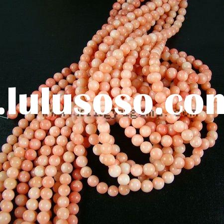 Round 4--14mm natural dyed pink coral beads