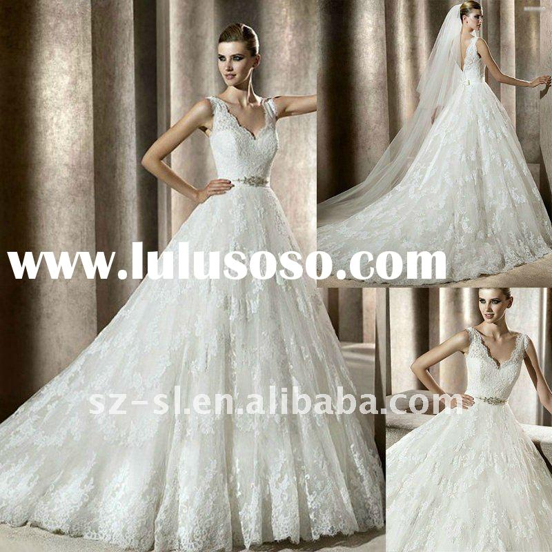SL-6010 New Arrvial A-Line Sleeveless Lace Wedding Dresses