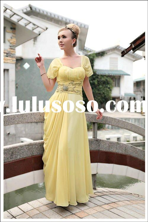 Short sleeves coart train maxi dress yellow dress lady fashion prom dress D30255