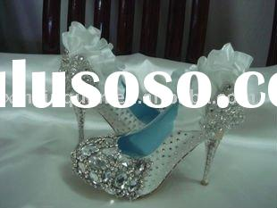 WS171 hand made Jeweled crystal ruffle satin women's white bridal shoes 2011