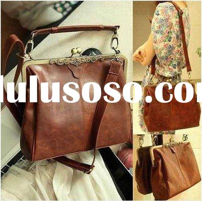 Womens Retro Vintage Ladies Kissl ock Shoulder Purse Handbag Totes Bag B101 Brown