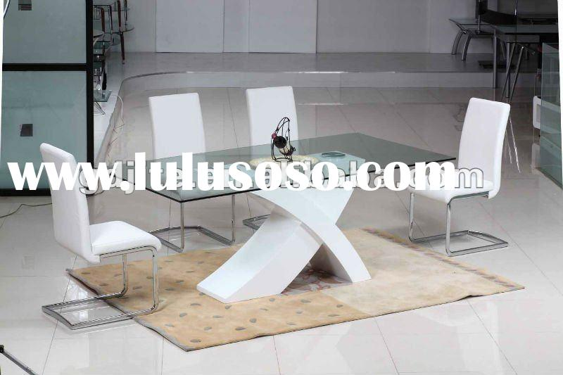 Wooden dining table with glass top AW8062