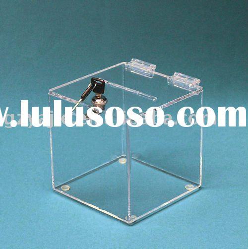 (YJ-00)Clear Acrylic Ballot Box Slot in Top with Hinged Lids with Lock