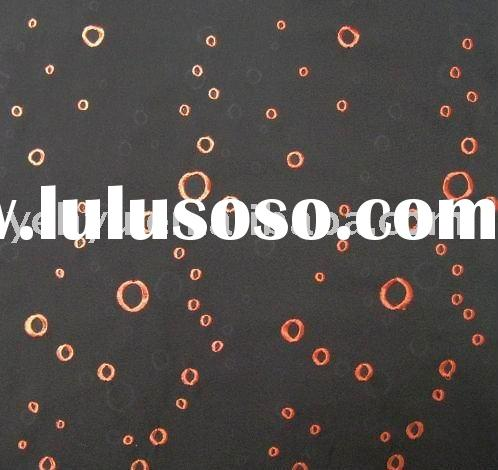 black organza embroidery fabric with orange circle embroidery design