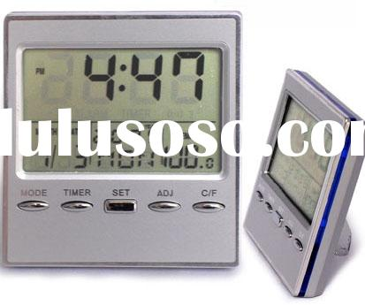 calendar clock,LCD clock with aluminium cover,alarm clock,LCD clock,digital clock,table clock,deskto