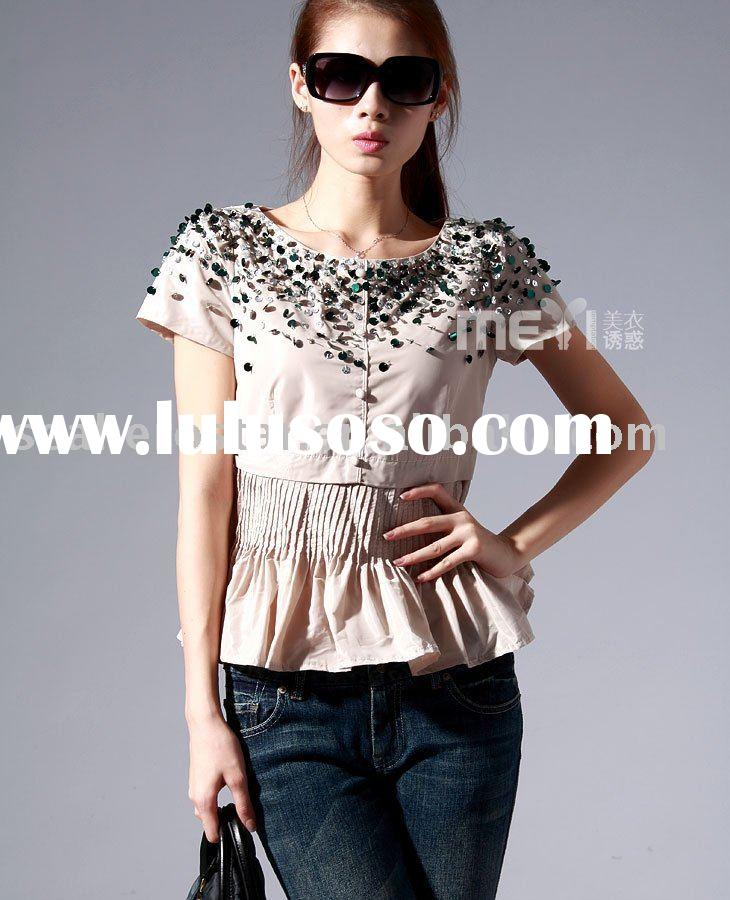 cotton/polyester ladies sequins shirts with short sleeve