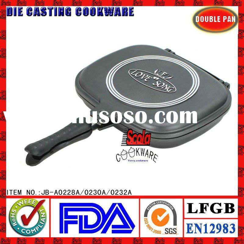 die cast aluminum double grill pan|double pan|double frying pan