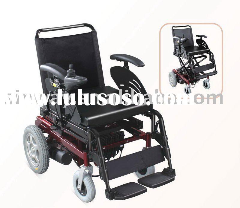 electric motorized wheelchair with adjustable seat height.