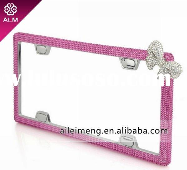fashion crystal pink car license plate frame with swarovski (CA-F4-1) Paypal