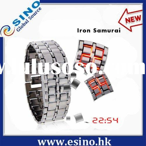 fashionable led wrist watch , LED Metal watch, led wrist watch Iron Samurai watch Japanese Inspired