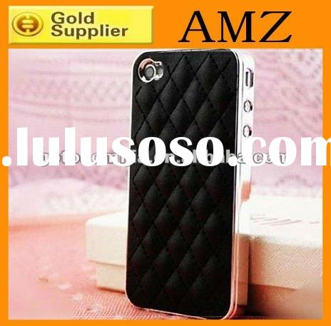 for iPhone4 4s luxury leather Case,Deluxe Leather Chrome cell phone case