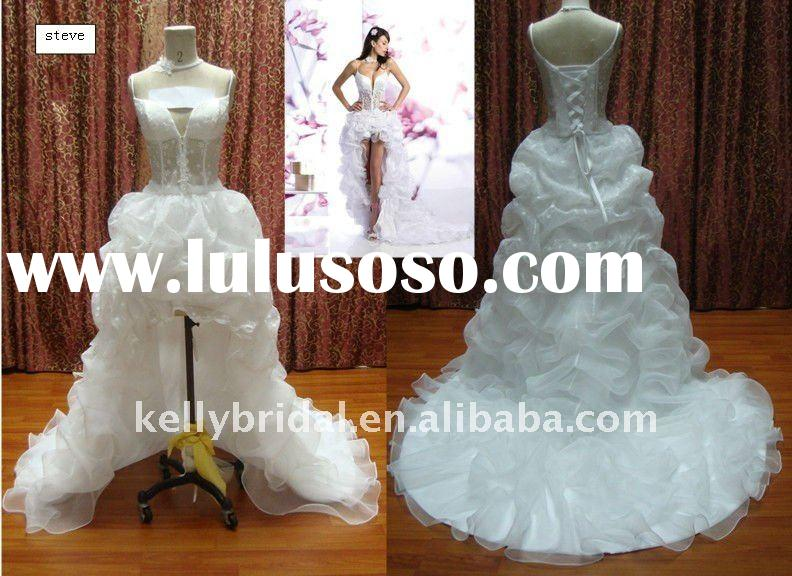 front short and long back wedding dress with bubble pleats
