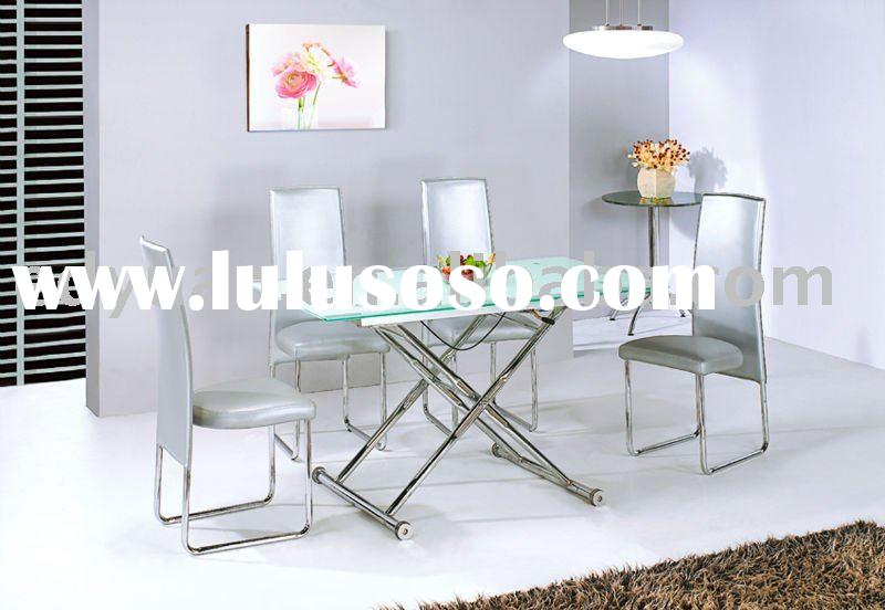 high grade adjustable height glass dining table