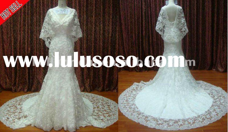 newly elegant lace new wedding dress, long sleeve lace open wedding dresses