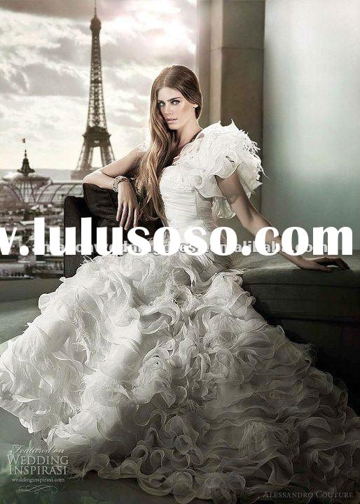 one-shoulder beautiful bridal wedding dress 2012