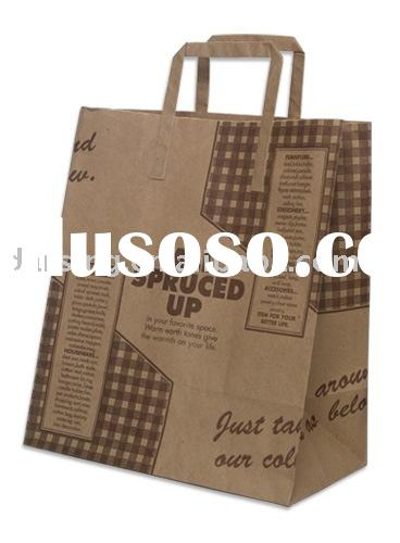 paper packing bag,brown kraft paper bag,handle paper bag