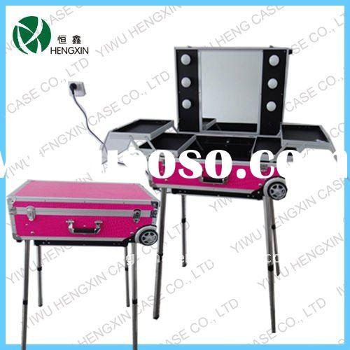 professional makeup case with lights cosmetic train makeup station with light with mirror