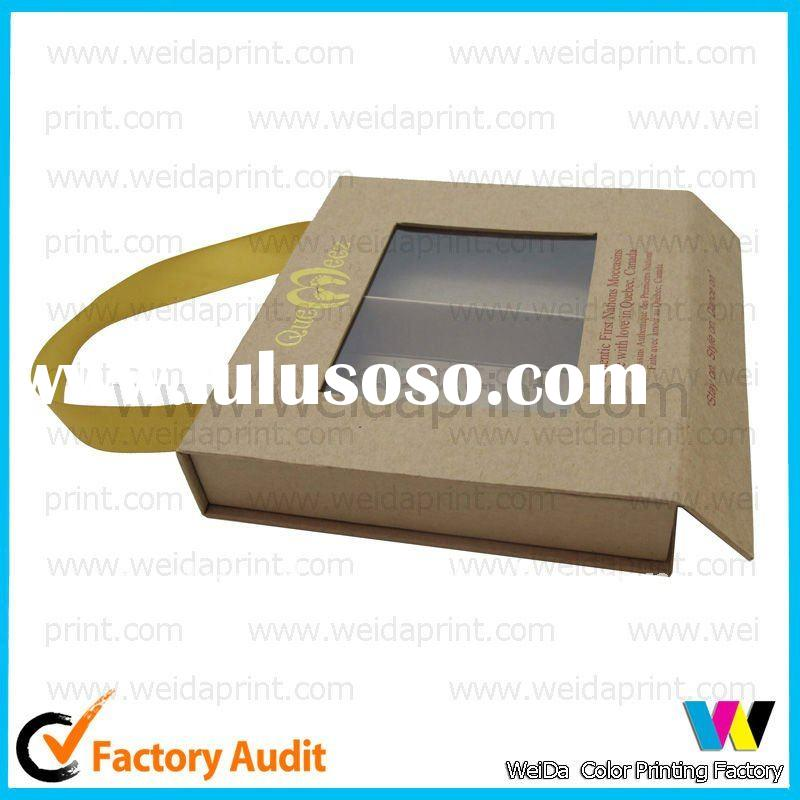 pvc window handle gift paper box with ribbon
