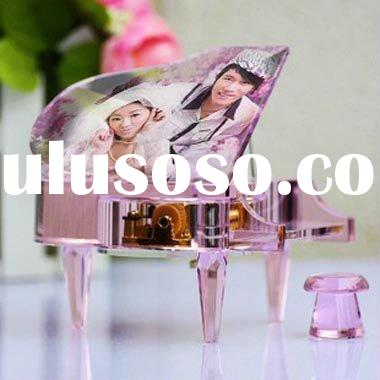 romantic pink crystal music box for birthday gift YYH0035-YEE