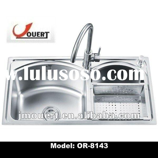 top-mount stainless steel double bowl kitchen sink commercial sink