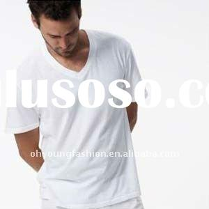 wholesale bulk white plain mens 140gsm short sleeve t shirts v neck