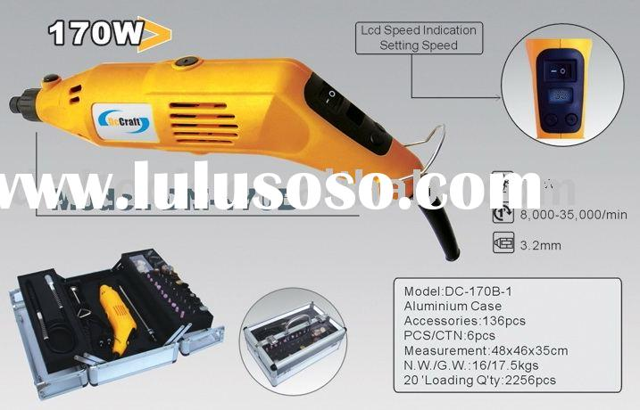170w/160w corded rotary tool kit with LCD screen/LCD mini grinder/mini drill set