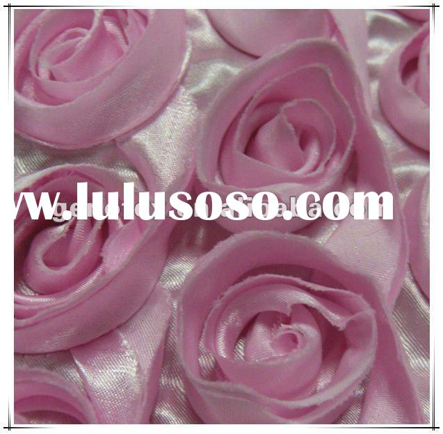 Big Sateen Rose Embroidery Fabric for Wedding dress
