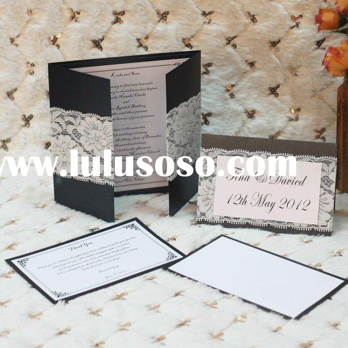 Black With White Lace Wedding Card With RSVP Card And Thank You Card-------EA120