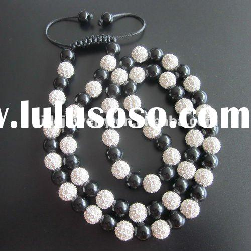 Black and White Beaded Necklace New shamballa necklace