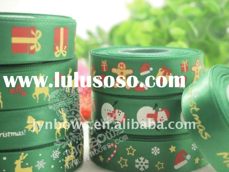 Chrismas printed ribbon (custom printed ribbons );Novelty satin ribbon