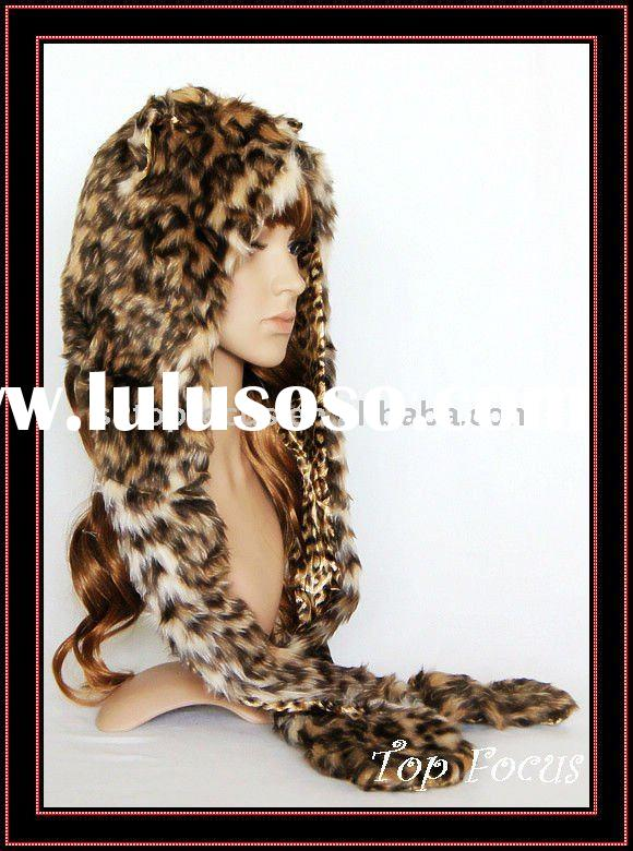 FUNNY LEOPARD SPIRIT PLUSH ANIMAL HEAD HAT WINTER ANIMAL HATS FOR ADULTS AND KIDS