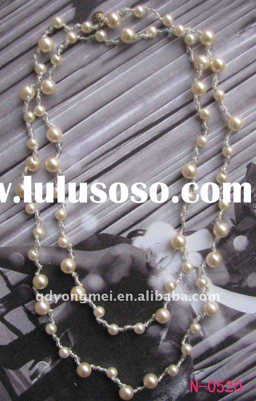 Fashion jewelry 34 inch long imitation cream chunky pearl necklace designs