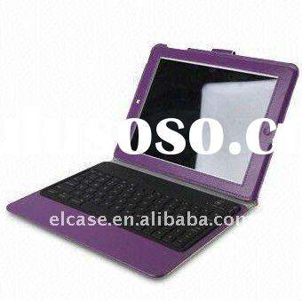 GGMM Newest Purple Leather Case with Keyboard for iPad 2