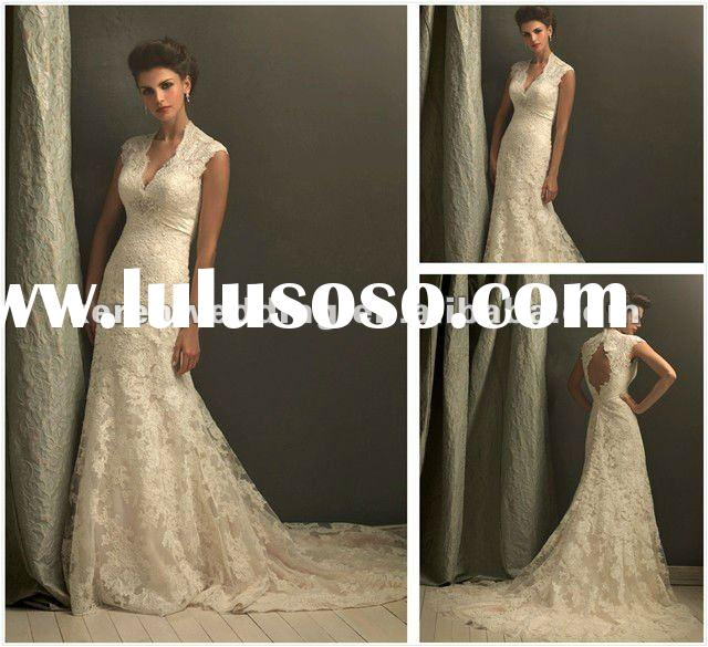 Ivory Cap Sleeve V Neck Lace Bridal Wedding Dress
