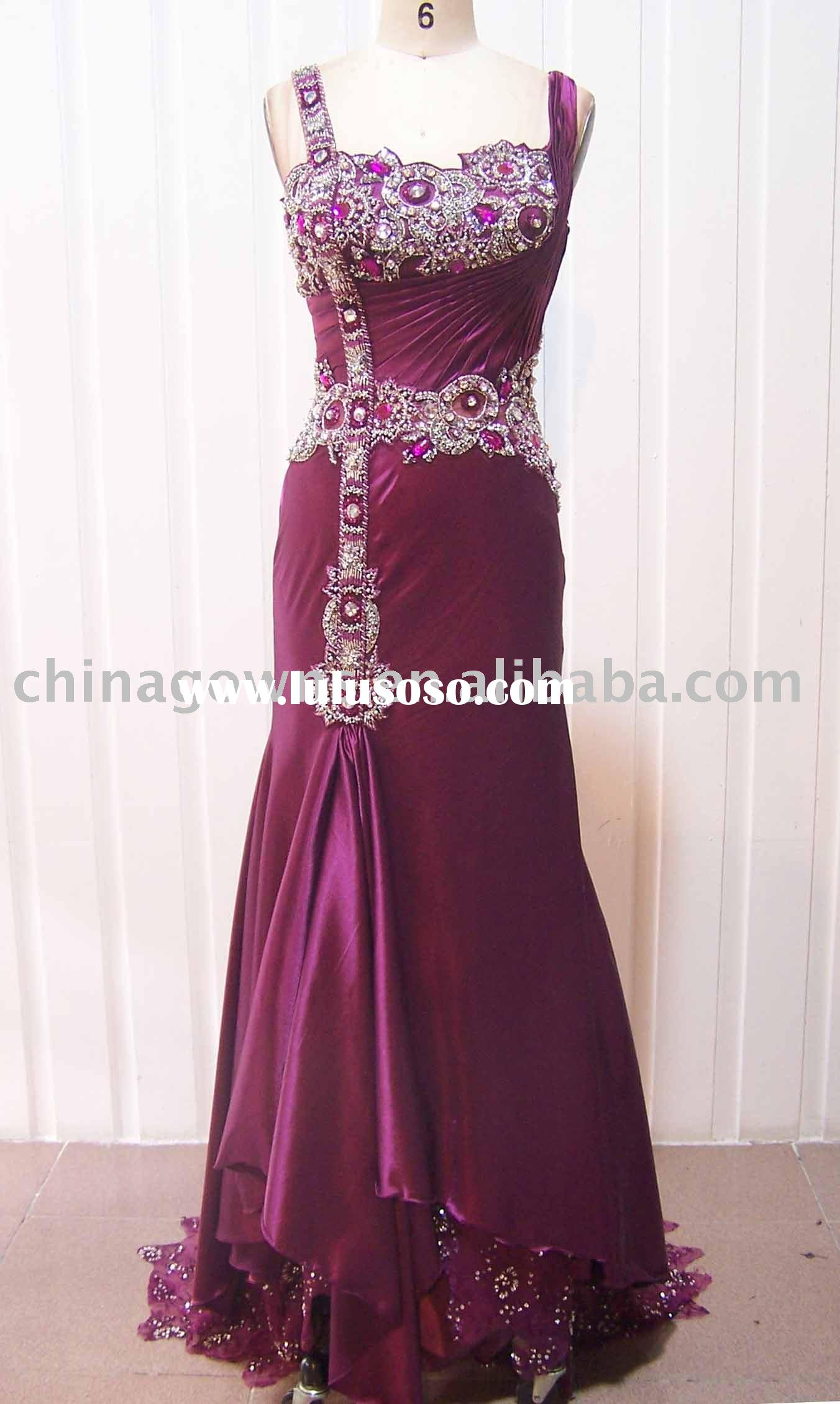 Red long evening dress for party