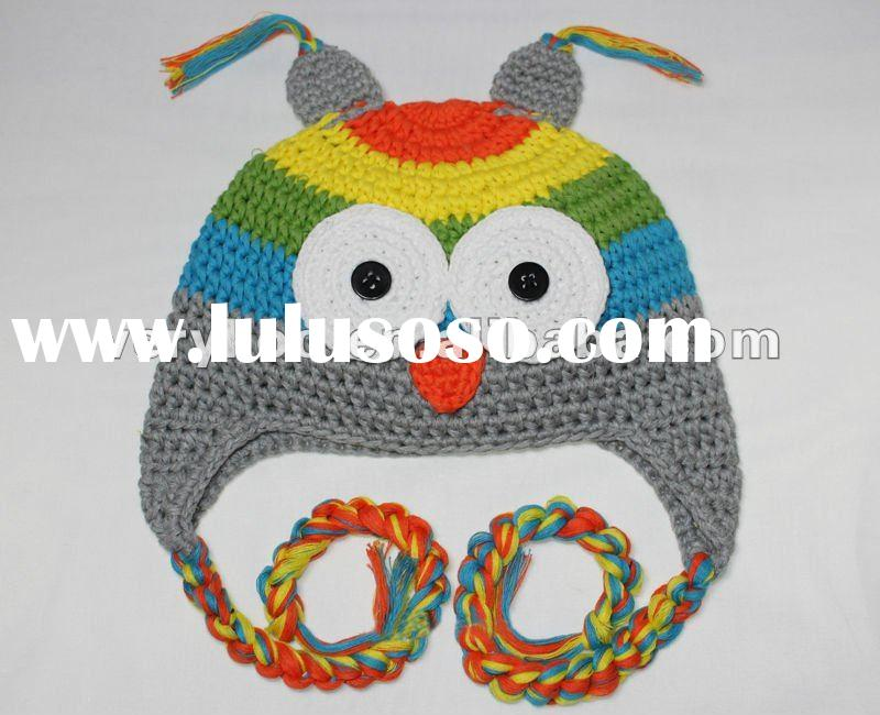 Toddler Baby Crochet Owl Ear Flat Beanie Hat FCK-119070850