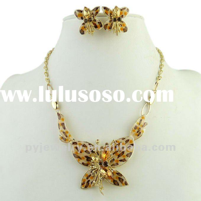 Wholesale Chunky Butterfly Pendant Necklace And Earrings Set, Ladies Jewelry Sets