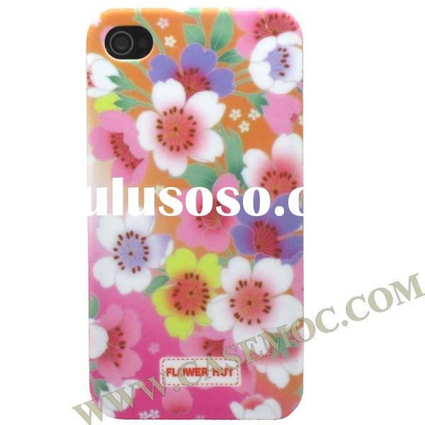 Wholesale-Newest Hard Plastic Flower Hut Series Case for iPhone 4