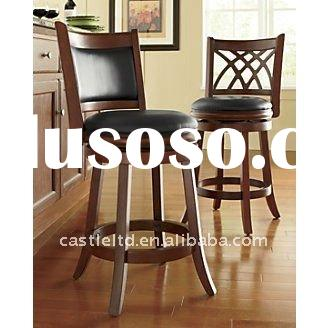 antique wooden leather back swivel barstool,classical bar chair