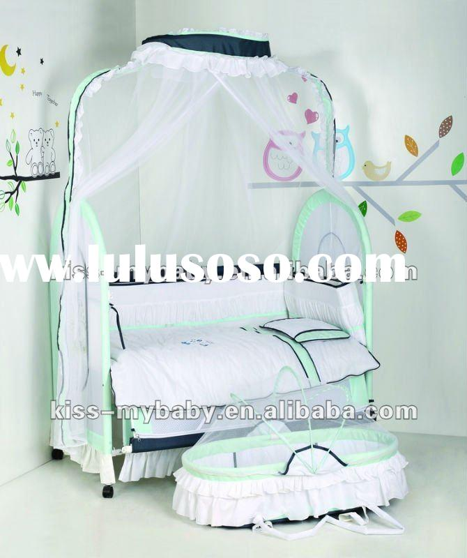 baby wood cradle,Nets cloth bed,sproducts for baby, Iron, Equipped with cradle.Equipped with wheels