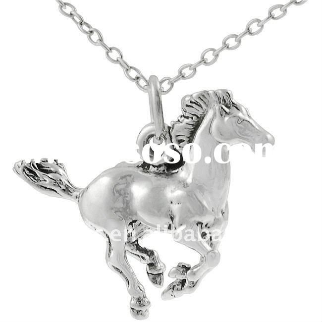 fashion antique silver running horse pendant necklace jewelry