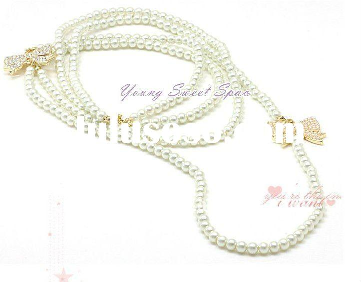 fashion jewelry long pearl necklace, hot Korea style jewelry