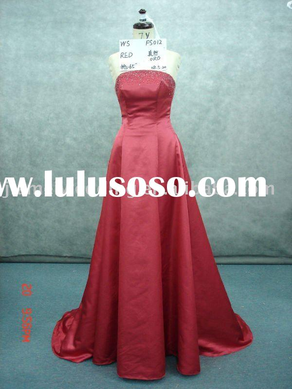 hot selling silk and organza wedding dress with long train Model FS012