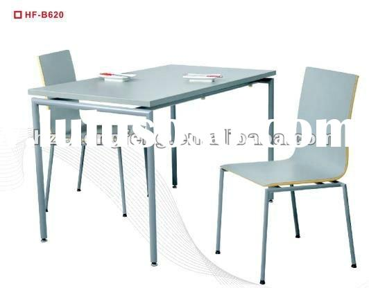 modern laminated top wood metal restaurant dining table and chairs
